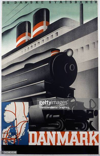 A graphic image of Danish transportation is the subject of this poster for the Denmark State Transport published circa 1920 in Kopenhagen Denmark