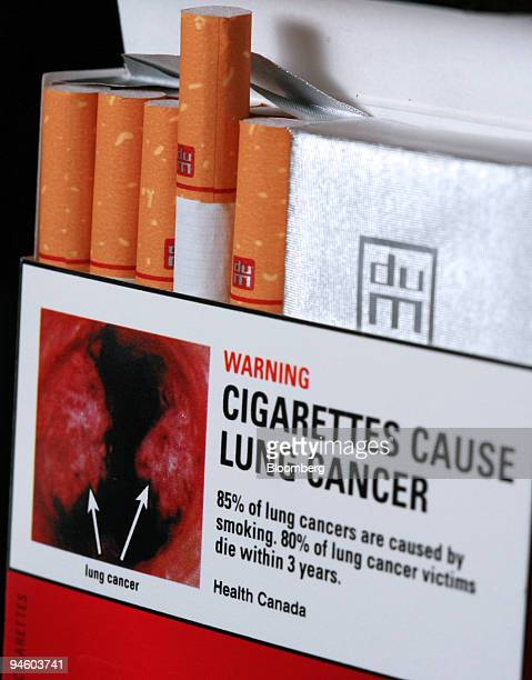 A graphic image warning label reading 'Cigarettes Cause Lung Cancer' on a duMaurier cigarette box in Toronto Ontario Canada Thursday June 28 2007...
