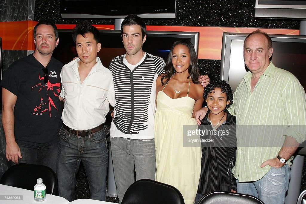 Graphic novel artist Tim Sale actors James Kyson Lee, Zachary Quinto, Dania Ramirez, Noah Gray-Cabey and producer/writer Jeph Loeb attend the NBC Universal celabration for the DVD realease of 'Heroes: Season 1' at the NBC Experience store on August 28, 2007 in New York City.