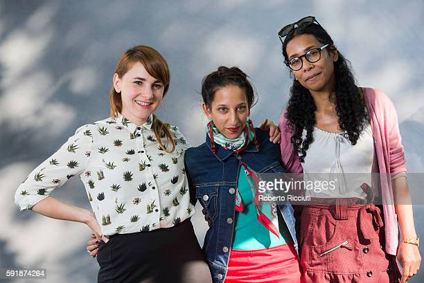 Graphic novelist Karrie Fransman British journalist Bidisha and novelist Bessora attends a photocall at Edinburgh International Book Festival at...