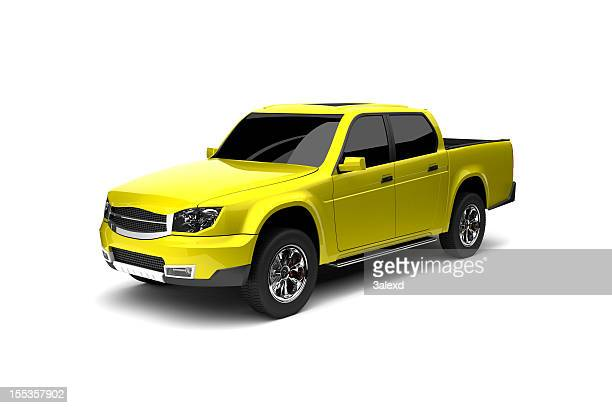 3D graphic of 4 door yellow pickup truck on white background