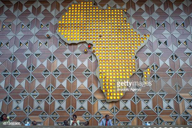A graphic of Africa continent is seen on the photo during 23th African Union Summit in Malabo Equatorial Guinea on 27 June 2014 It is emphasized that...