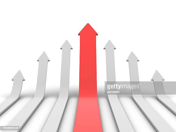 graphic of red arrow and smaller white arrows pointing up - arrow stock photos and pictures