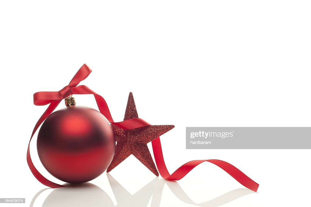 Graphic of red Christmas ornament, ribbon and star : Stock Photo