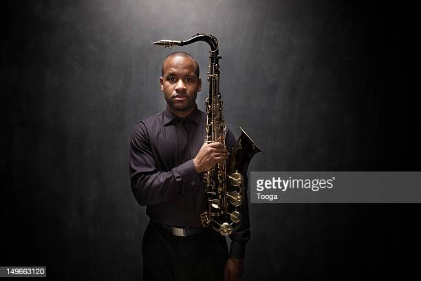 Graphic portrait of African-American saxophonist