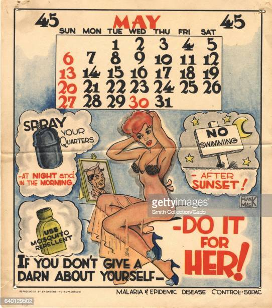 Graphic published by the United States Army showing a pinup model and encouraging military men to protect themselves from disease 'for her' if they...