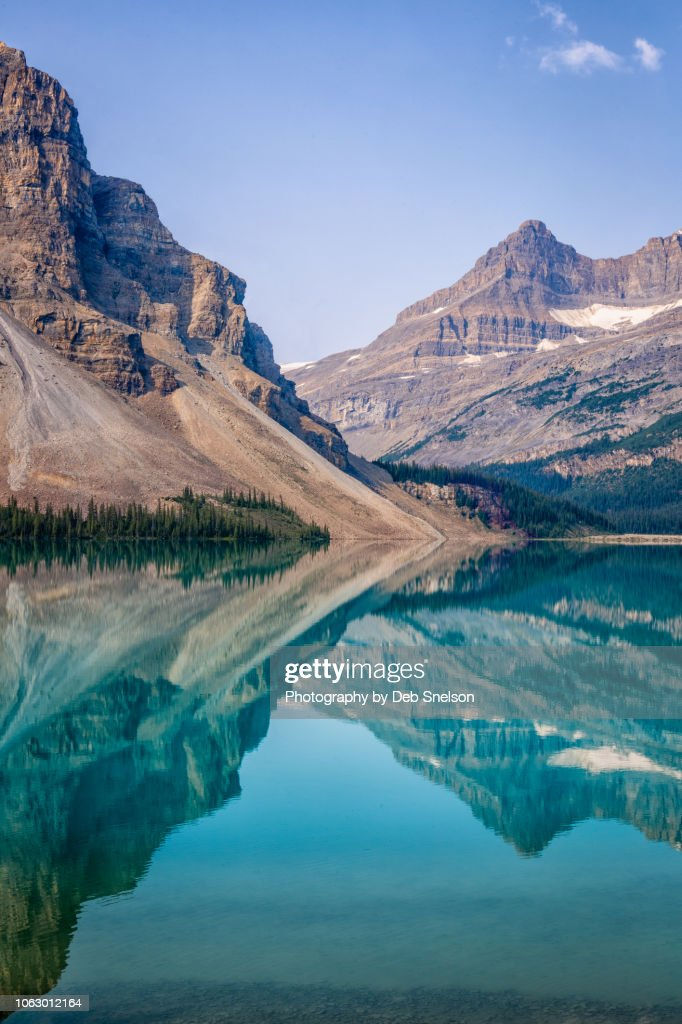 Graphic Reflections in Bow Lake,  Banff National Park, Canada : Stock Photo