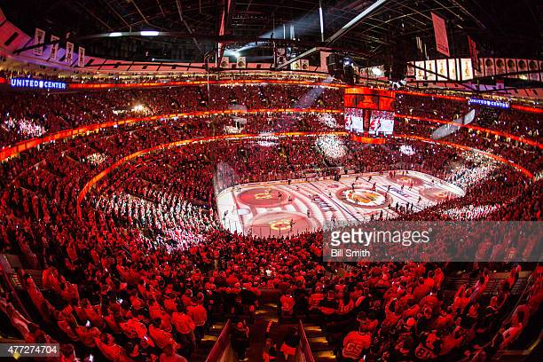 Graphics are projected onto the ice prior to the start of Game Six of the 2015 NHL Stanley Cup Final between the Chicago Blackhawks and the Tampa Bay...