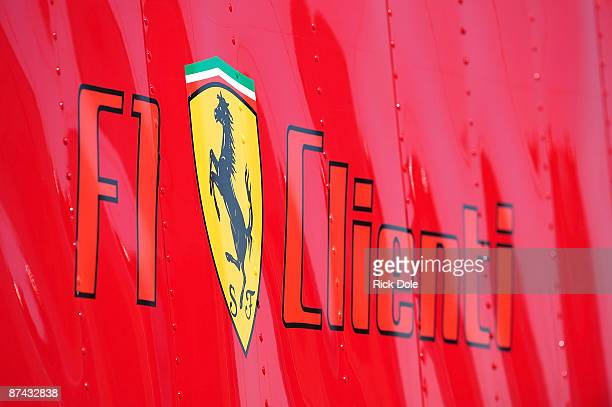 Graphics of the Ferrari logo on the Risi Competizione transporter during practice for the American Le Mans Series Larry H Miller Dealerships Utah...