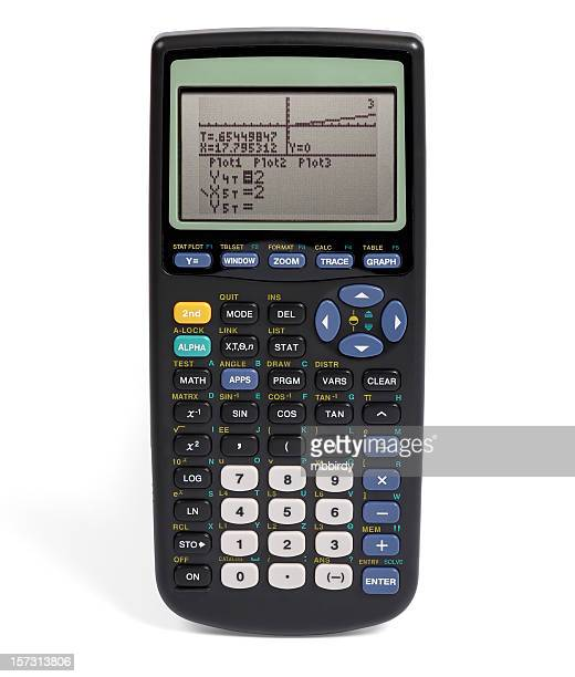 graphing calculator (clipping path), isolated on white background - calculator stock photos and pictures