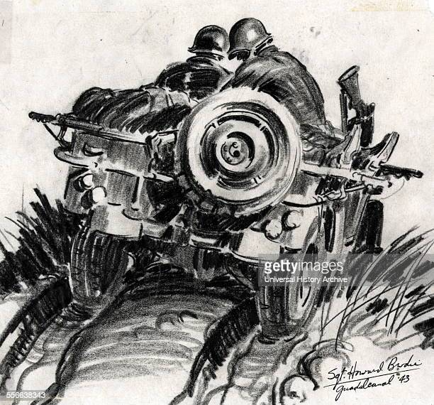 Graphite drawing depicting two privates driving down a Jeep Trail from Mt. Austen during the Battle of Guadalcanal, World War Two. By Howard Brodie...