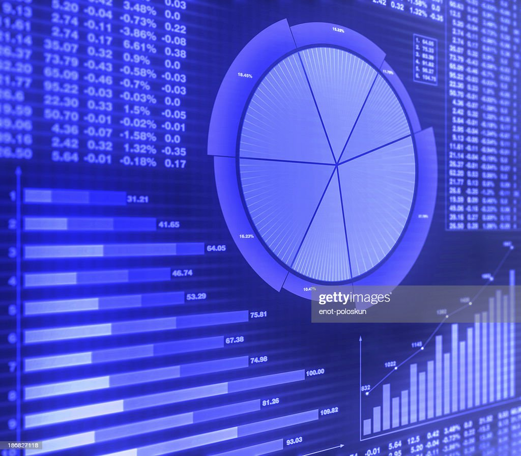 Graphs and financial charts in purple : Stock Photo