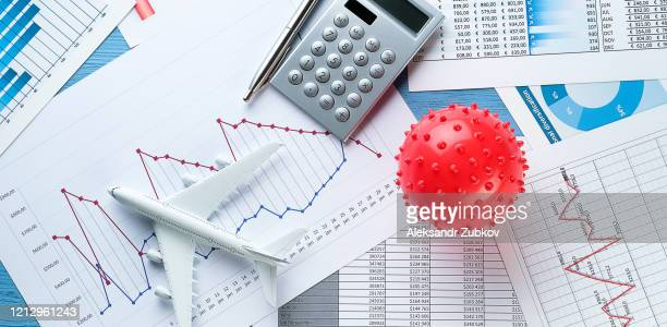 graphs and histograms, virus. concept of the decline of the world economy due to the coronavirus outbreak. falling financial indicators and revenues, the collapse of stock prices and securities. - 中央銀行 ストックフォトと画像