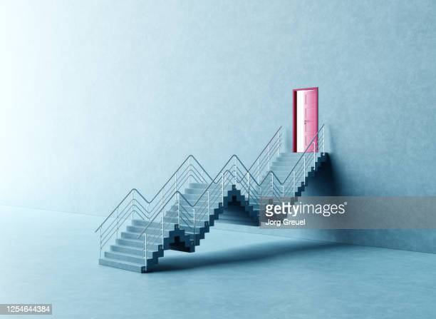 Graph-shaped stairs leading to a door