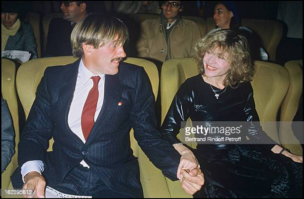 Gérard Depardieu and his wife Elisabeth at the Les Comperes premiere, 1983.