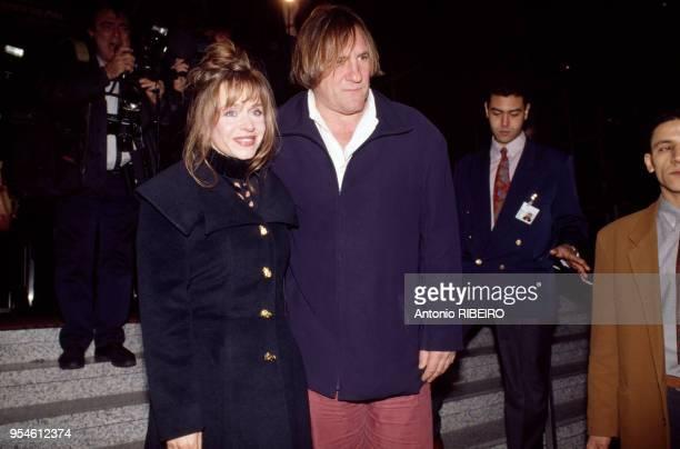 Gérard Depardieu et son épouse Elisabeth le 10 octobre 1992 à Paris France