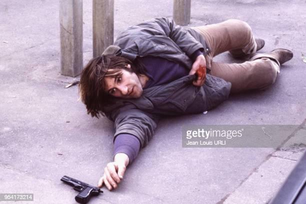 Gérard Depardieu sur le tournage film 'Le Choix des armes' réalisé par Alain Corneau en 1981, France.