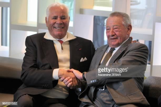 Gérard Pélisson cofondateur du groupe Accor et Djillali Mehri, homme d'affaires et homme politique algérien lors d'une inauguration d'un nouvel hotel...