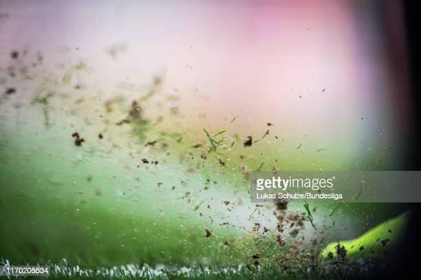 Gras sprays after a corner kick during the Bundesliga match between Borussia Mönchengladbach and Fortuna Düsseldorf at Borussia-Park on September 22,...