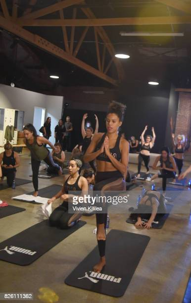 Grasie Mercedes attends PUMA Hosts CAMP PUMA To Launch Their Newest Women's Collection Velvet Rope at Goya Studios on August 3 2017 in Los Angeles...
