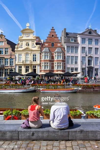 graslei and korenlei - belgium stock pictures, royalty-free photos & images