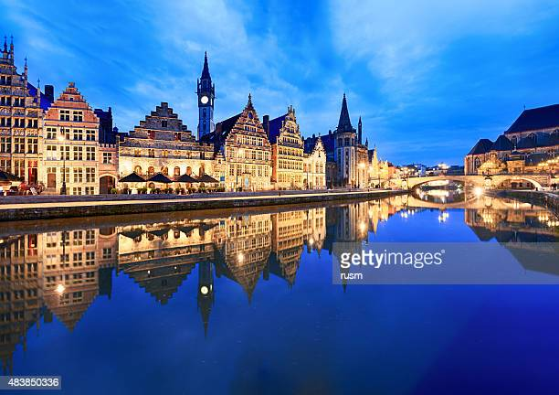 graslei harbour at dusk, ghent, belgium - belgium stock pictures, royalty-free photos & images