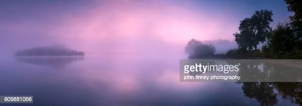 Grasmere lake sunrise panoramic. Lake District National park. UK. Europe.