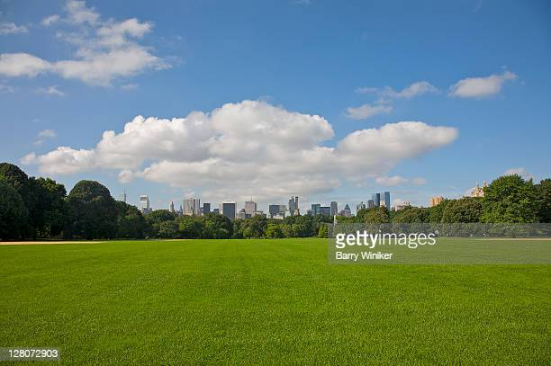 Grass and baseball diamond, looking south towards Midtown, from Central Park, New York, NY, U.S.A.