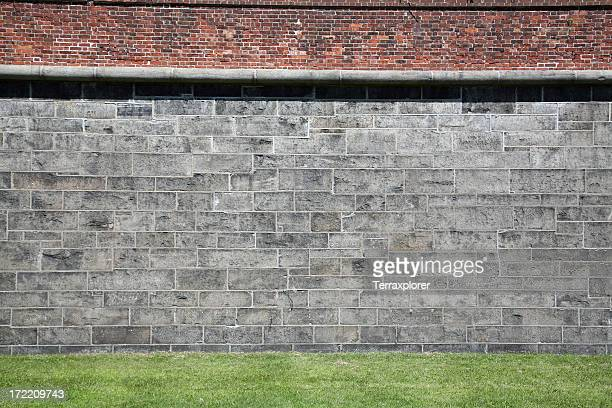 Grass And Wall Close-Up