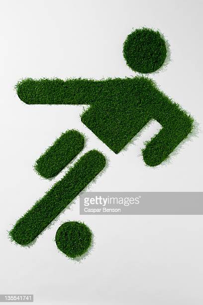 A grass figure playing soccer