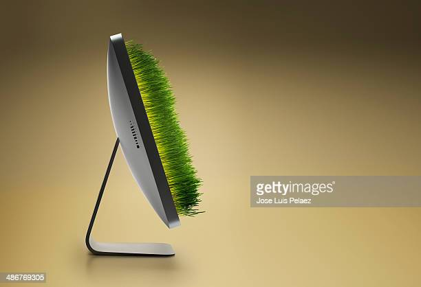 Grass growing out from computer