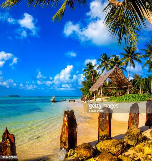 grass hut on micro beach, saipan, commonwealth of the northern mariana islands, usa. - 北マリアナ諸島 ストックフォトと画像