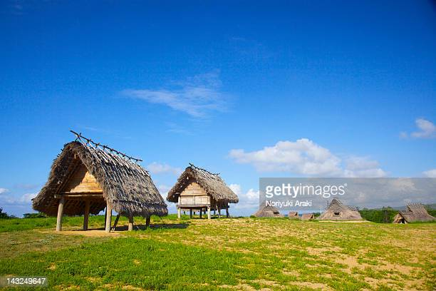 grass huts - yonago stock photos and pictures