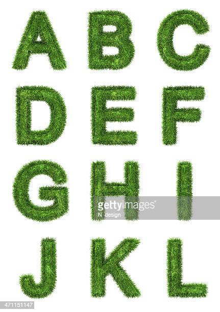 grass letters - alphabet stock pictures, royalty-free photos & images
