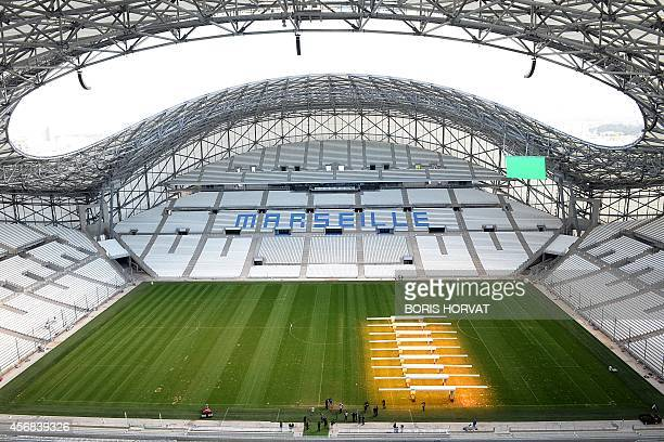 Grass lighting system, used especially in winter and in otherwise shaded areas to aid the growth of grasses, operates onto the pitch at the Stade...
