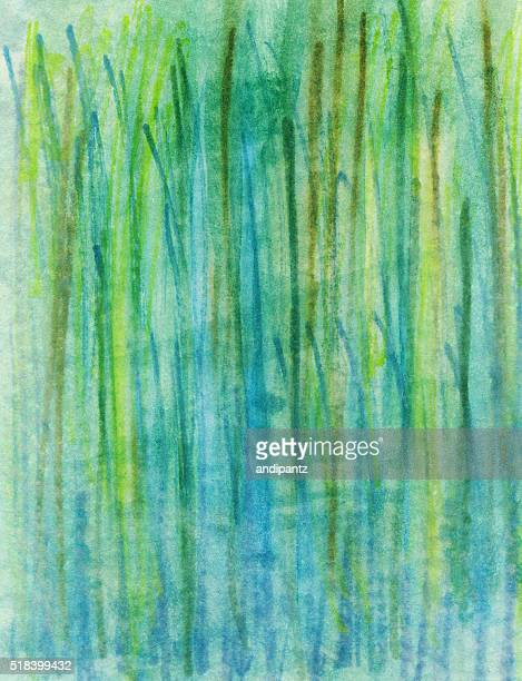 Grass like hand painted texture with various earth tone greens