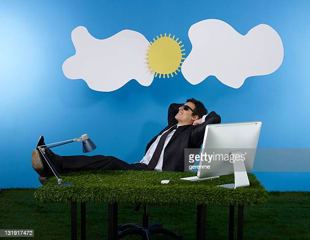grass office - fake man stock photos and pictures