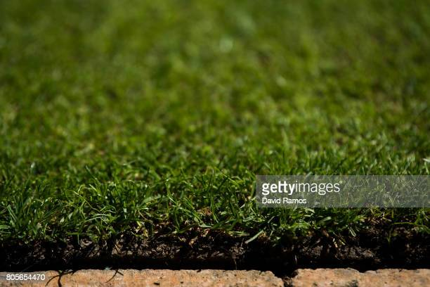 Grass on centre court is seen at Wimbledon on July 2 2017 in London England