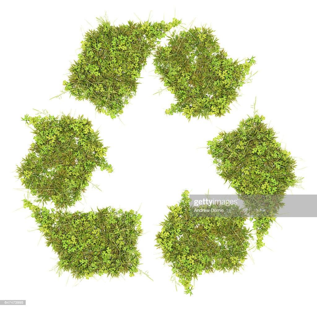 Grass recycling symbol : Stock Photo