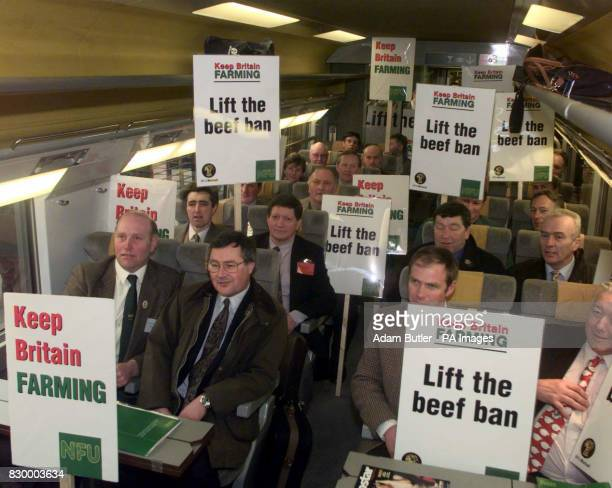 'Grass Roots' farmers from across England and Wales on the Eurostar train at Waterloo Station in London this morning London just before they set off...