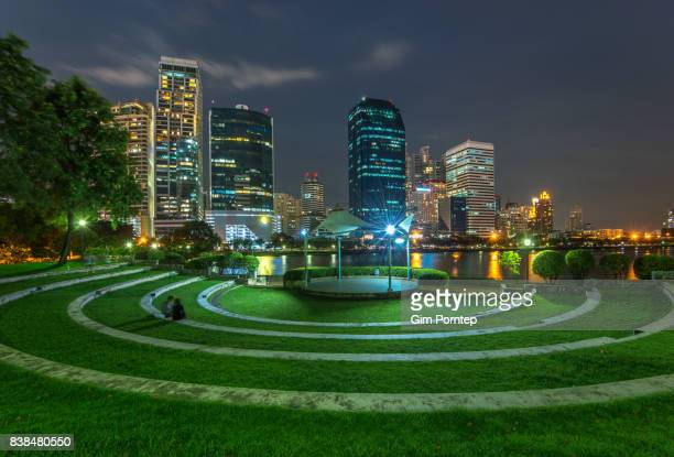 Grass step in benjakitti park , bangkok , thailand
