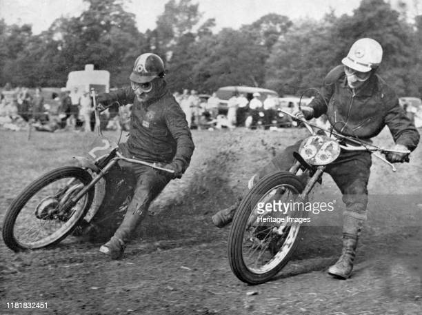Grass track racing at Bishops Waltham Coffin and Bungay on Jap motorcycles Creator Unknown