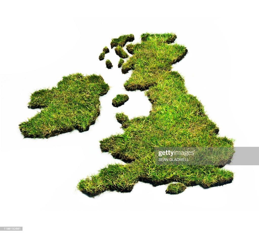 Grass UK map : Stock Photo