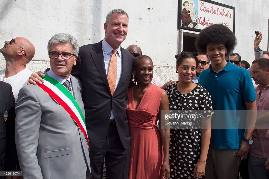 New York City Mayor Bill de Blasio Visits His Grandmother's Town Grassano And Receives Honorary Citizenship : News Photo