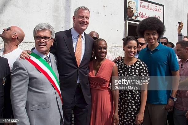 Grassano Mayor Francesco Sanseverino New York City Mayor Bill de Blasio Chirlane McCray Chiara de Blasio and Dante de Blasio pose for photos during a...