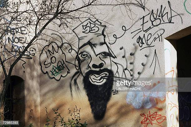 A picture taken 12 January 2007 in Grasse southern France showing a graffiti on a former Iraqi leader Saddam Hussein's half brother Barzan alTikriti...