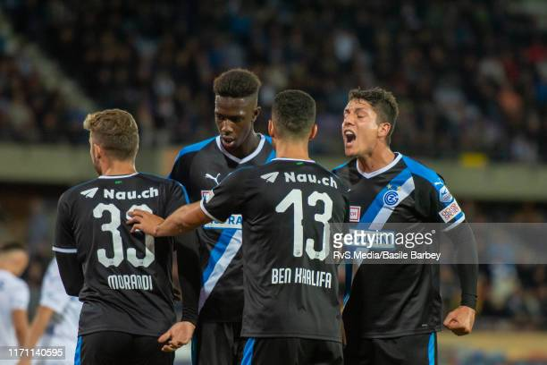 Grasshoper Club Zurich players celebrate a goal during the Challenge League game between FC Lausanne-Sport and Grasshopper Club Zurich at Stade...