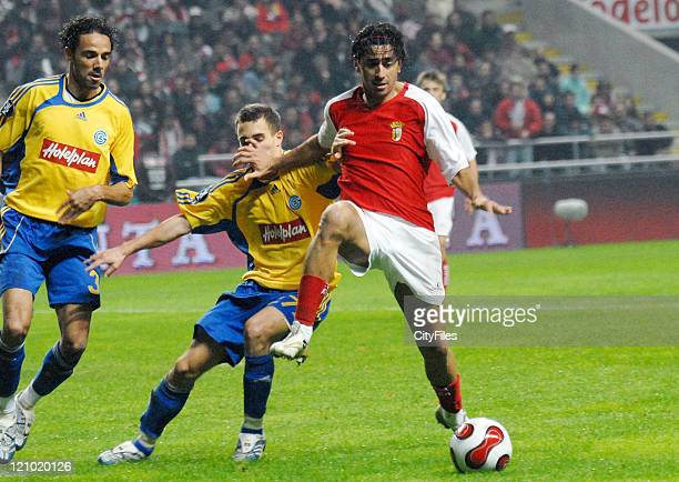 Grasshopper's Weligton and Braga's Wender in action during the UEFA Cup Group C match between SC Braga and the Grasshoppers at the Estadio Municipal...