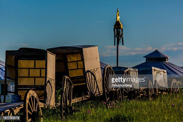 grassland landscape - ox cart stock photos and pictures