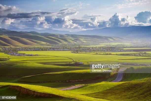 Grassland landscape with village in distance, India